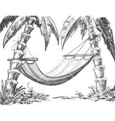 Dit is het voorbeeld voor de palmbomen met hangmat waar ik deze les mee aan de slag ben gegaan
