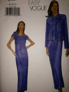 Very Easy Vogue 7141 sewing pattern Misses Jacket by SewVintageCo, $5.00  Raised waist dress with pockets, and jacket