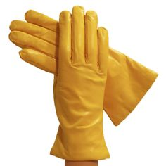 Yellow Simple Leather Gloves, Lined in Cashmere