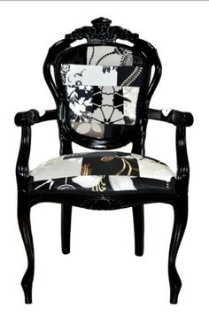 From GDUKStyle.com Artisan feature: Black Patchwork Louis Chair £475 from www.thebaobabtree.co.uk