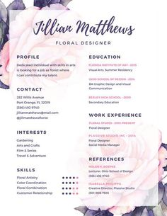 Use this customizable Purple and Pink Floral Creative Resume template and find more professional designs from Canva. Resume Writing Examples, Free Resume Examples, Resume Ideas, Sample Resume, Resume Form, Cv Ideas, Resume Cv, Web Design, Resume Design