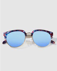 Gafas de sol con montura en habana y lentes en azul