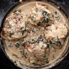 Creamy Tuscan Chicken - By Tasty Ingredients for 2 servings 4 bone-in, skin-on chicken thighs 2 teaspoons salt, for the chicken 1 te Creamy Tuscan Chicken Recipe, Tuscan Garlic Chicken, Cooking Recipes, Healthy Recipes, French Food Recipes, Gif Recipes, Cooking Eggs, Cooking Cake, Cooking Fish
