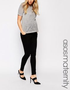 ASOS Maternity Ridley Skinny Jean in Clean Black with Over the Bump Waistband