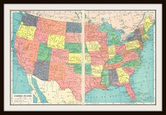 Antique Map  UNITED STATES  1920's Map Pages 2 by KnickofTime, $11.50