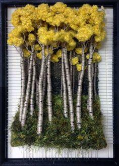 Ideas For Hand Quilting Fiber Art Art Fibres Textiles, Textile Fiber Art, Weaving Textiles, Weaving Art, Loom Weaving, Tapestry Weaving, Moss Wall Art, Moss Art, Weaving Projects