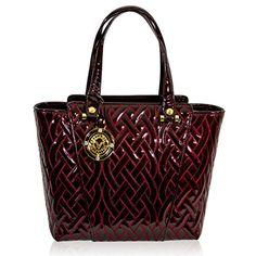 edbce36a73 Valentino Orlandi Italian Designer Burgundy Quilted Patent Leather Tote Bag  Patent Leather, Burgundy, Valentino