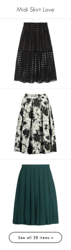 """Midi Skirt Love"" by kelseyloveswine ❤ liked on Polyvore featuring skirts, oscar de la renta, black, cut out skirt, knee length lace skirt, knee length pleated skirt, black lace skirt, mid calf black skirt, midi skater skirt and floral skirt"
