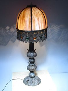 Antique Vintage Lamp Slag Glass Shade Large by Antique Lighting, Vintage Lamps, Glass Shades, Light Fixtures, Table Lamp, Antiques, Etsy, Home Decor, Antiquities