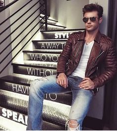 New Men's Genuine Lambskin Leather Jacket Brown Slim fit Biker Motorcycle jacket Lambskin Leather Jacket, Leather Men, Leather Jackets, Brown Leather, Mens Attire, Dapper Men, Fashion Night, Cool Street Fashion, Looks Style