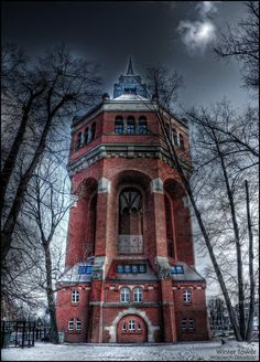 Old water tower,Wrocław, Poland     So different from modern water towers; it is a piece of art.
