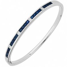 MiAmoro 18kt White Gold Sapphire and Diamond Bangle (0.44 cttw, G-H Color, SI1-SI2 Clarity), Women's