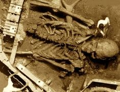 This is the most popular giant skeleton photo online. There is so many stories about the places where this skeleton was found. From Texas, all the way to India, lol.  My favorite is the 1930′s India story. Found while tearing down an ancient temple in India. The people in the photo don't look Indian and they have modern clothing on, oops 1930′s? India? There is also a colored version, but I prefer the black and white one :). Fake but a very entertaining photo.