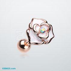 Rose Gold White Rose Sparkle Cartilage Tragus Earring