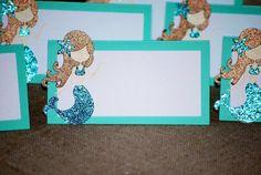 12 Mermaid Place/ Food Cards, Brown Haired Mermaid Birthday Party, Mermaid Baby Shower, Mermaid 1st Birthday Mermaid Baby Showers, Baby Mermaid, Mermaid Birthday Cakes, Recipe Cards, Food Cards, First Birthdays, Etsy Shop, Handmade Gifts, Kids