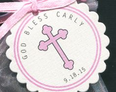 Personalized Baby Girl Baptism Favor Tags Christening by susiedees