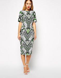ASOS   ASOS Midi Wiggle Dress in Art Deco Print at ASOS
