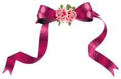 Decorative Ribbon with Roses PNG Clipart Image