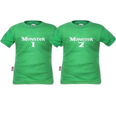 2 tee shirt enfant jumeaux : monster 1 et monster 2 - SiMedio