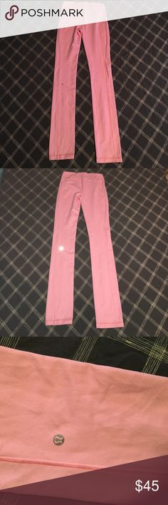 BRIGHT PINK LULULEMON YOGA PANTS EUC condition. Only flaw is small stain on front of leg as pictured, hardly noticeable but like to be honest. Size dot confirmed 8. lululemon athletica Pants Leggings