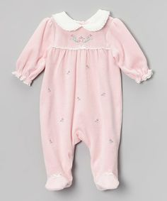 Light Pink Chateau Rose Velour Footie - Infant