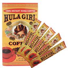 Hula Girl 100% Instant Kona Coffee ~ 12 pack Hawaiian Coffee, Kona Coffee, Hula Girl, The 100, Packing, Bag Packaging