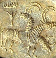 Image result for antelope looks back indus script