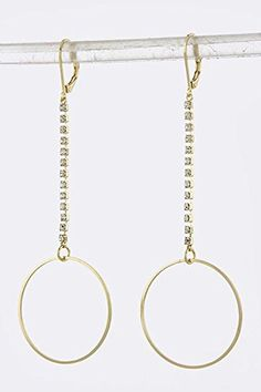 TRENDY FASHION JEWELRY DELICATE HOOP DROP EARRINGS BY FASHION DESTINATION  Gold -- Be sure to check out this awesome product. Note:It is Affiliate Link to Amazon.