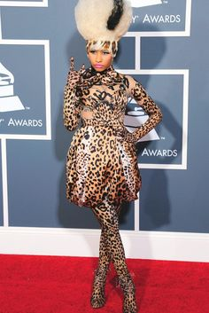 Nicki Minaj in Givenchy Haute Couture at the Grammys, 2011. via @WWD leopard prints