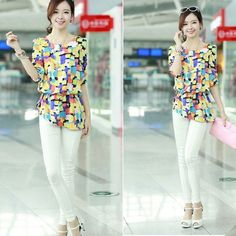 Women's New Casual Flower/Pattern Print Chiffon Shirt Tops Blouse