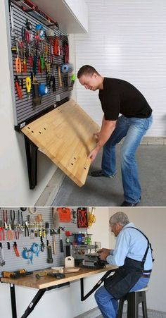 Folding Wall-Mounted Workbench by Bench Solution saves valuable floor space, provides a heavy-duty work surface with a 400-pound load rating, folds down to take up less than 4 inches of garage space, and can be customized for your height. (Vehicle might still have to be parked outside while the project is in process). Posted by Chad Gookin 2012-10-23). #outsideplayhouse #playhousesforoutside #outdoorplayhouse