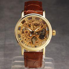 2016 new sewor brand skeleton hollow fashion mechanical man clock luxury business leather wrist watch | worth buying on AliExpress