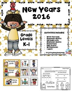 This unit for New Years 2016 includes activities that are perfect for the first week back at school after winter break.  The packet includes: New Years Write the Room Activity with response sheets Crossword puzzle and fill in the boxes, 4 QR codes about celebrating New Years and so much more!