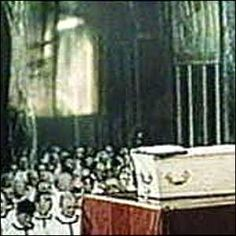 Ghost-like Virgin Mary.    Was the Virgin Mary watching over Cardinal Basil Hume's coffin during his funeral?    The claim was made after two photographers took pictures of TV coverage of the Mass.    On the left, above the crowd a ghostly image appeared.