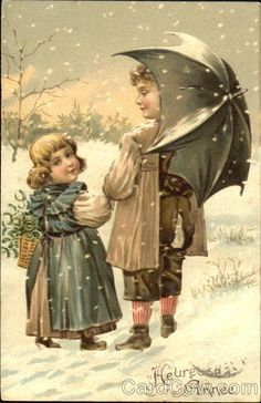 Two young children walking in the snow Series 6559 Heureuse Anne