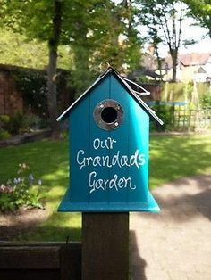 Bird box garden Father's Day personalised gift grandad | eBay