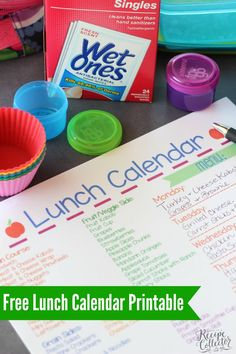 Free Lunch Calendar Printable to help make back to school lunches easier!  #ad