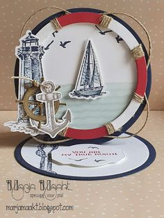 Father's Day card using Sailing Home set. Masculine Birthday Cards, Birthday Cards For Men, Masculine Cards, Men Birthday, 3d Cards, Easel Cards, Stampin Up Cards, Fancy Fold Cards, Folded Cards