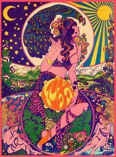 "bvddhist:  beldar-conehead:  PLEASE CREDIT THE ORIGINAL ARTIST; SHE'S FORGOTTEN ABOUT ENOUGH AS IS. ""Love Life"" — Marijke Koger  Organic  // Spiritual  // Hippie"