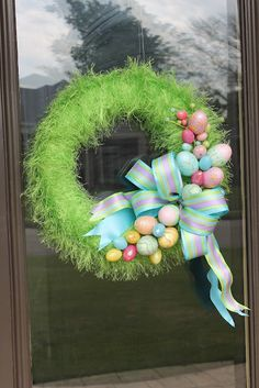 Easter wreath (wreath form is covered with fun fur yarn and up close looks like grass)