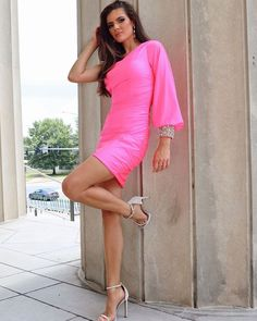 One Shoulder Fuchsia Satin Tight Short Homecoming Dress with Long Sleeves Shorts With Tights, One Shoulder, Satin, Beads, Formal Dresses, Long Sleeve, Sleeves, Beading, Dresses For Formal