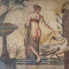 Mosaic depicting Leda and the Swan once the central panel (emblema) of mosaic floor discovered in the vicinity of the Sanctuary of Aphrodite at Palai pafos late early century AD Pala epaphos Museum Cyprus. Ancient Greek Art, Ancient Rome, Ancient Greece, Paphos, Ancient Artifacts, Greek Mythology, Roman Empire, Cyprus, Mosaic Art