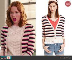 Kimmy's striped cardigan on Unbreakable Kimmy Schmidt.  Outfit Details: http://wornontv.net/46610/ #UnbreakableKimmySchmidt