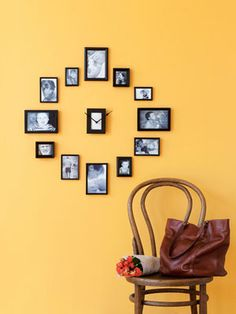 """Show off some of your clan's favorite moments with this clever DIY wall clock. Gather 13 frames, sizes 2"""" x 3"""" to 4"""" x 6"""" (unify mismatched frames with spray paint), 12 photos, a clock kit (from a crafts store), and white paper and cardboard (to hide clock mechanism)."""