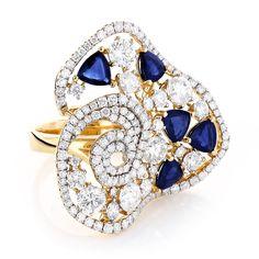 Designer Diamond and Blue Sapphire Cocktail Ring 18K Gold