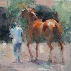 Artist: Carolyn Anderson - Title: Before the Race Greyhound Art, Horse Posters, Visual And Performing Arts, Horse Artwork, Rabbit Art, Classic Paintings, Impressionist Art, Pastel, Animal Paintings