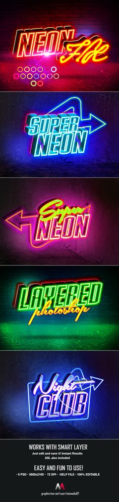 Buy Neon Sign Styles by on GraphicRiver. These Neon signs are very fun and easy to customize. Simple edit with you. Typography Design, Logo Design, Graphic Design, Photoshop Text Effects, Photoshop Actions, Neon Design, Wall Design, Calligraphy Text, Neon Logo