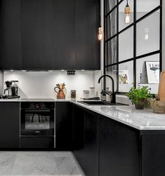 Marvelous Modern Black Kitchen Cabinets Design Ideas For Inspiration - Page 7 of 32 Refacing Kitchen Cabinets, Black Kitchen Cabinets, Kitchen Cabinet Design, Kitchen Cabinetry, Black Kitchens, Cabinet Refacing, Home Decor Kitchen, New Kitchen, Shaker Kitchen
