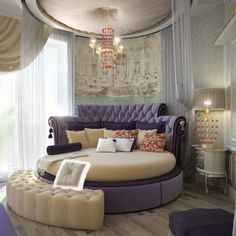 Round bed with purple hues brings in a regal flavor