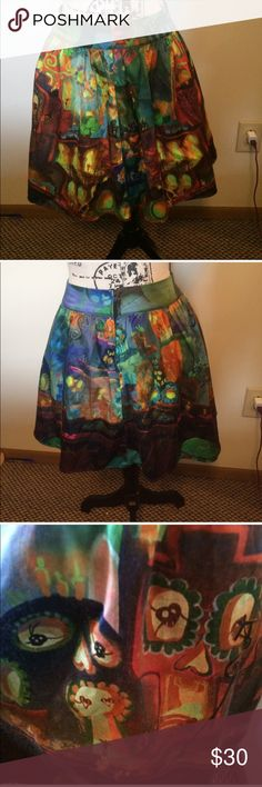 Hot Topic Book of Life Skater Skirt Small Adorable Book Of Life skirt from Hot Topic. Skirt is in great shape! Perfect for any lover of this movie. Size small. Hot Topic Skirts Circle & Skater